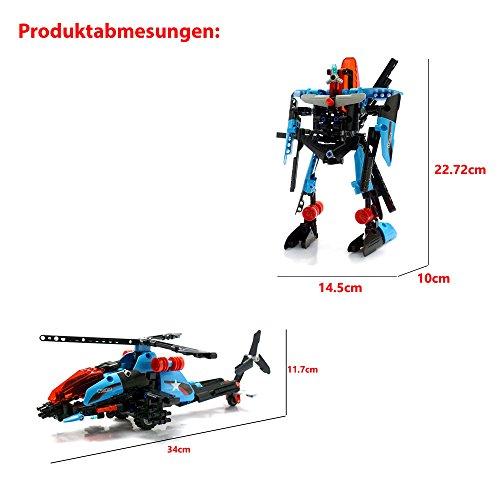 HSP Himoto 2in1 Hubschrauber aus Klemmbausteine mit Rückziehfunktion Pull Back, Steckbausatz Konstruktion DIY, Hubschrauber zum Selberbauen Basteln, Block Building, Roboter, Neu