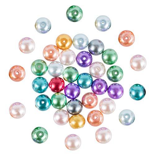 PandaHall 100PCS 10mm Perline Perla Vetro Perline per Bigiotteria Perline Colorate, Tinto, Colore Misto, 10mm in Diametro, Foro: 1.5mm