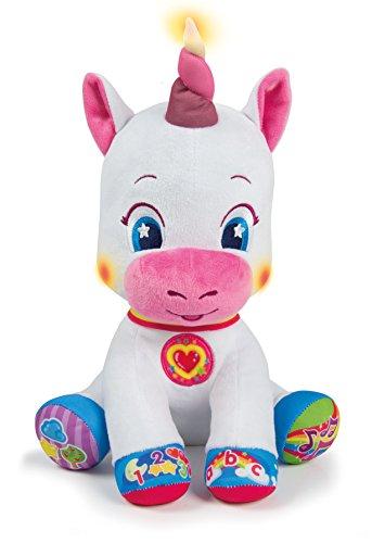 Clementoni 59101- Scintilla l'Unicorno Canta e Brilla Peluche, Colore bianco e rosa, 6mesi+ (lingua tedesca)