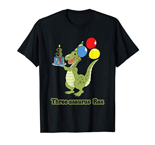 Tres asaurios Rex 3º Cumpleaños Chico Pastel de Globo Camiseta