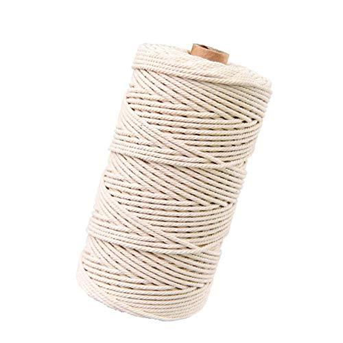 Hecha a Mano Craft Cuerda,Cordel de Algodón,natural trenzado algodon,Hilo Macramé,para Envolver Regalo Navidad Colgar Fotos Manualidades Costura (200M-3mm-2)