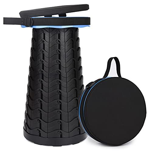 Tragbarer Klapphocker mit Sitzkissen, Zweiten Generation Mini Teleskophocker Leichte Campinghocker für Outdoor Camping Angeln BBQ Drinnen Küche, Belastung 180 kg (Blue)