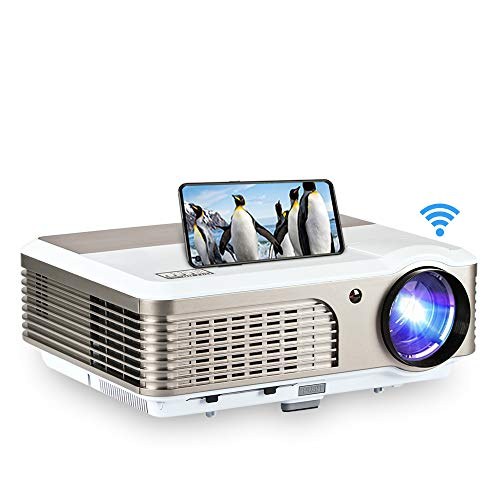 apple android projectors LED Smart Projector Home Cinema 3900 Lumen with HDMI USB Wireless Screen Cast iPhone Mobile Phone Projectors HD 1080P Support, Compatible with DVD TV Stick PC Playstation