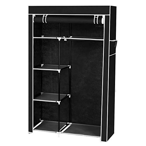 CASTAIN Canvas Wardrobe Bedroom Furniture Cupboard Foldable Clothes Storage Organiser With Hanging Rail (6 Shelves/Black)