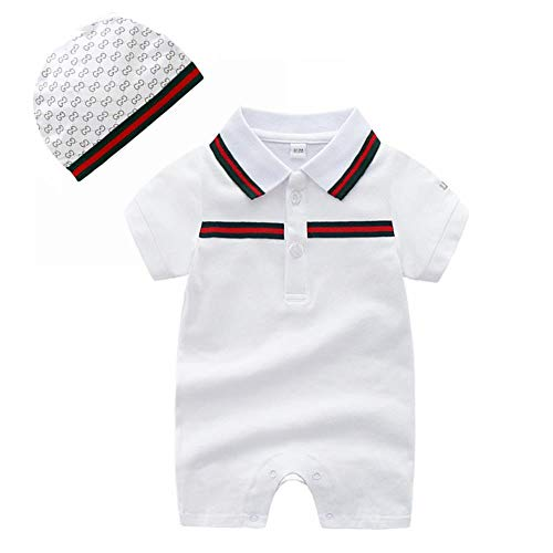 Baby Boys Romper Overalls Short Sleeve Polo Cotton Outfits Infant Clothes with Hat White 0-3M/59