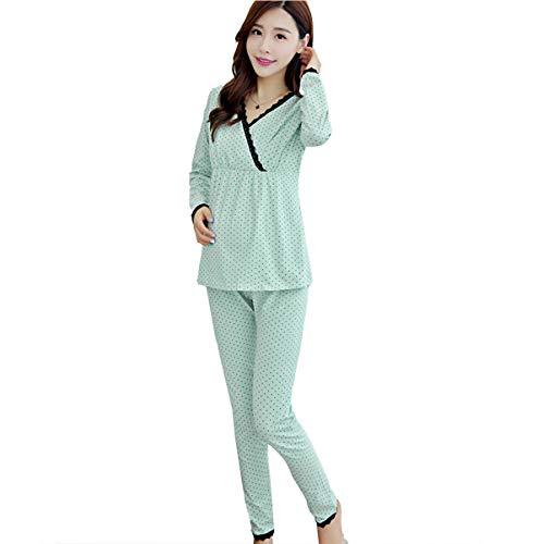 Ropa Premamá Lactancia Pijama Conjunto Maternidad Pijama Premamá Embarazo Cuello En V De Lactancia Manga Larga Top El Pantalones,Verde,XL