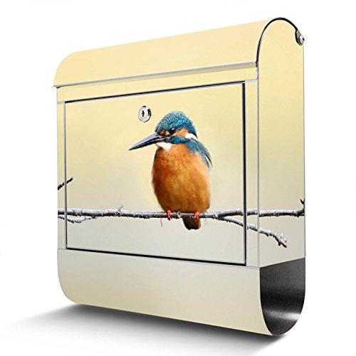 BANJADO Edelstahl Briefkasten mit Zeitungsfach   Design Motivbriefkasten   Briefkasten 38x43x12cm groß   Postkasten mit Montagematerial   2 Schlüssel Motiv Pause