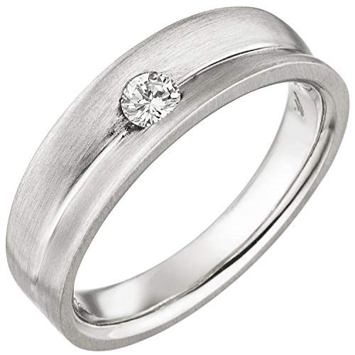 Jobo Damen Ring 950 Platin matt 1 Diamant Brillant 0,13ct. Platinring Größe 56