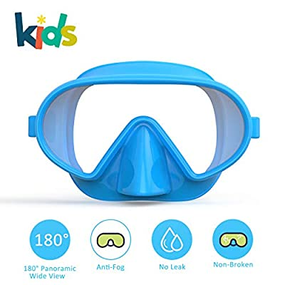 Fxexblin Kids Snorkel Mask Leakproof Scuba Dive Masks Swim Goggles Free Diving Snorkeling Swimming, Anti-Fog Tempered Lens 180° Panoramic View for Youth Junior Child