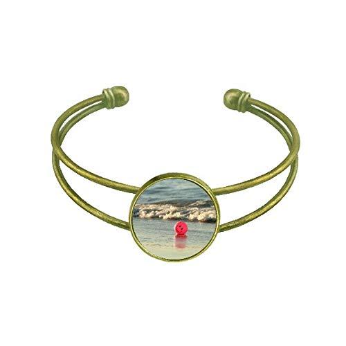 DIYthinker Ocean Sand Strand lächelndes Gesicht Bild Armband Armreif Retro offene Manschette Schmuck
