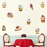 Delicioso pastel de helado etiqueta de la pared decoraciones de la fiesta de cumpleaños para la tienda de golosinas ventana vinilo diy refrigerador mural decoración del hogar 30 * 60 cm