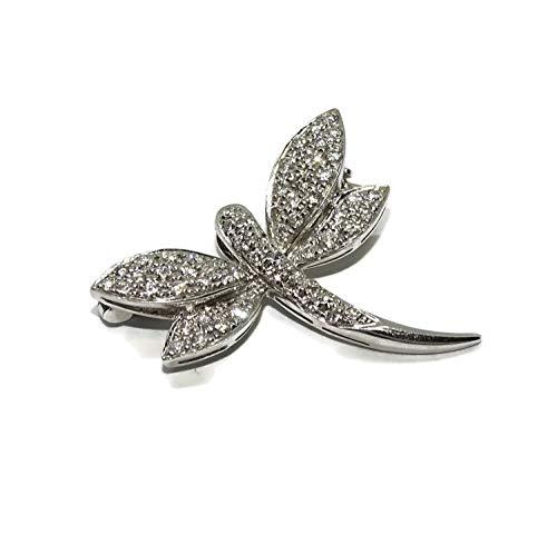 Never Say Never Wunderschöne Brosche in Libellenform aus 18 kt Weißgold und 0,37 kt Diamanten, 2,70 g 18 kt Gold, Größe: 1,90 cm hoch, von Kopf bis Schwanz und 2,00 cm breit.
