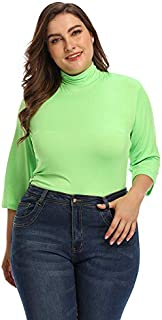 Europe and the United States large size women's half high collar and seven sleeve slim Joker solid color T-shirt woman