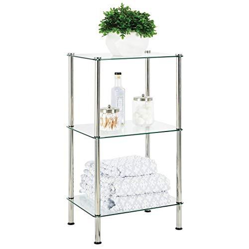 mDesign Scaffale bagno moderno – Organizer bagno a 3 ripiani in vetro e metallo – Elegante mobile portaoggetti bagno per asciugamani, creme, cosmetici – trasparente/argento