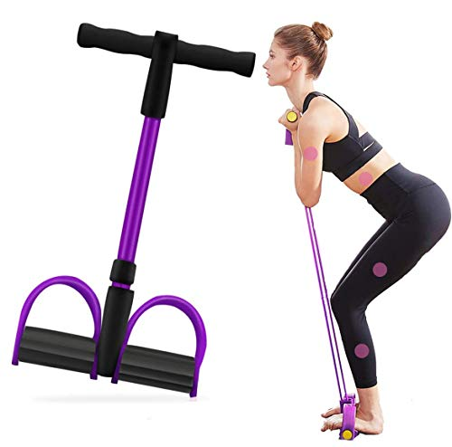Bauchtrainer Upgrade 4 Tubes Pedal Resistance Band Elastisches Sit-up Pull Rope Bodybuilding Expander Multifunktions-Widerstandstraining Home Fitness Arm Bein Dehnen Abnehmen Training Yoga-Lila