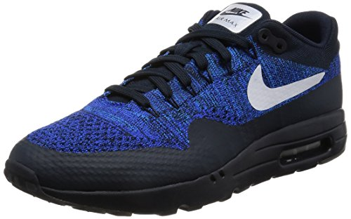 Nike Men's Air Max 1 Ultra Flyknit, Dark Obsidian/White-Racer Blue-Photo Blue, 8.5 M US