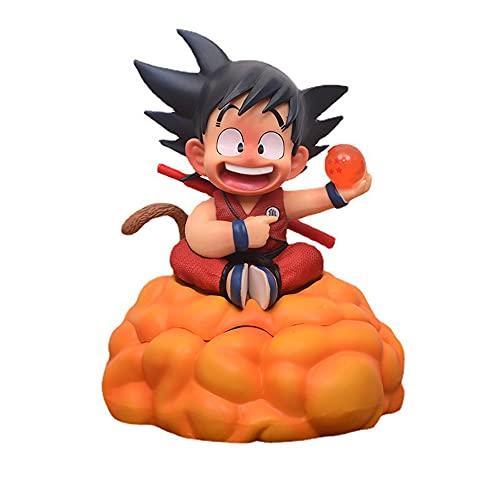 YUY Figura de Acción de Dragon Ball, Figura de Son Goku de 18 Cm, Sentado en La Posición de Nube de Salto Mortal, Sostenga Una Caja de Zapatos y Lleve Un Modelo de Bate de Béisbol