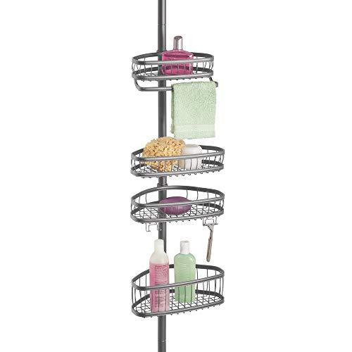 mDesign Duschregal ohne Bohren – höhenverstellbare Duschablage – Eckregal mit 4 verstellbaren Körben – praktische Ablage für Shampoo, Duschgel, Rasierer, u.v.m. – dunkelgrau
