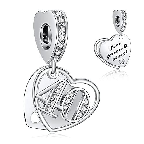 NINGAN 40 Abalorios Charms Colgantes de Encanto familia eterna Cuentas Plata de Ley 925 con Compatible con Pulsera Pandora & Europeo, Charms para Mujer Niña