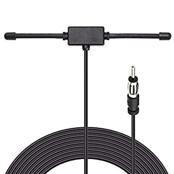 Bingfu Universal Car Stereo AM FM Dipole Antenna,Hidden Adhesive Mount AM FM Radio Antenna for Vehicle Car Truck SUV Radio Stereo Head Unit Receiver Tuner,10 feet Cable DIN Plug Connector