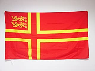 AZ FLAG Normandy Saint Olaf Cross 2 Lions Flag 3' x 5' for a Pole - Normandy Province of France Flags 90 x 150 cm - Banner 3x5 ft with Hole