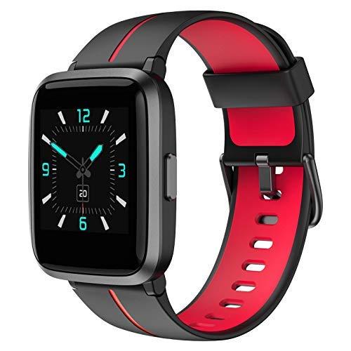 AIKELA Smartwatch, Orologio Fitness con Saturimetro (SpO2)/Misuratore Pressione/Cardiofrequenzimetro/Contapassi da Polso, Fitness Tracker con 5 ATM Waterproof, Orologio donna e uomo,iOS Android(rosso)