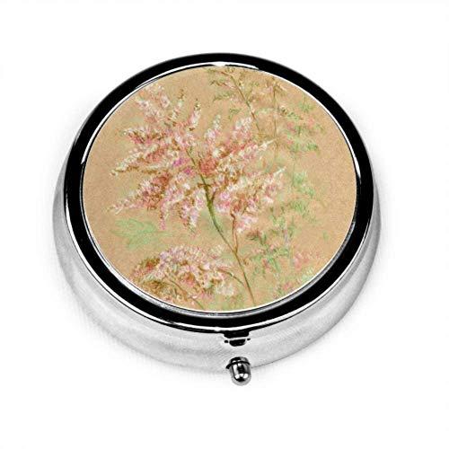 Pill Organizer Case, sanft rosa Astilbe Blume gemalt von tragbaren Pillenbox Kleiner Pillenbehälter für Geldbörse oder Tasche, runde Pillenbox