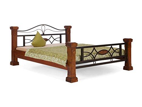 massivum Bett Byzanz 160x200cm Rubberwood braun gebeizt und lackiert