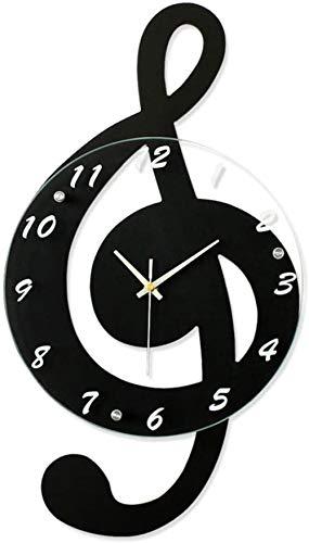 Reloj de pared de madera con mecanismo de cuarzo y esfera grande, funciona con pilas, fácil de leer, decoración del hogar, amarillo, 44 x 24 cm, negro, 52 x 29 cm