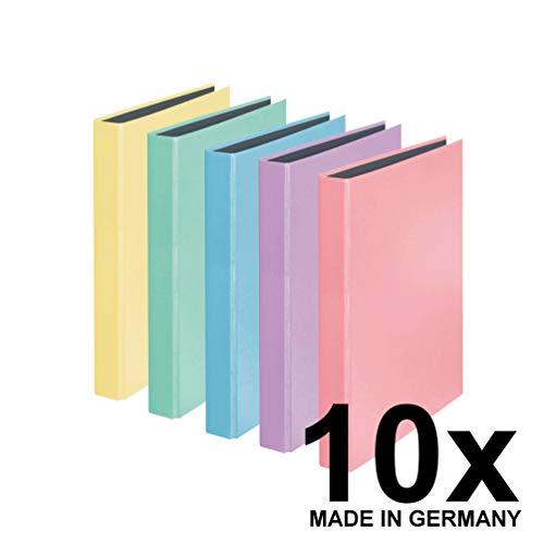 Original Falken 10er Pack PastellColor Ringbuch. Made in Germany. 2-D-Ring-Mechanik DIN A4 Füllhöhe 25 mm farbig sortiert Kalender Organizer Ring-Ordner Hefter ideal für Büro und Schule