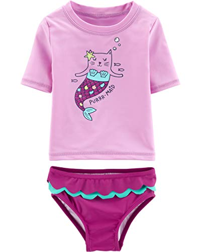 Carter's Girls' Baby Rashguard Swim Set, Purmaid, 9 Months
