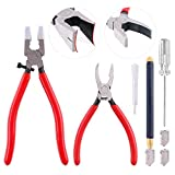 Swpeet 9Pcs Glass Cutter Tool Kit, Breaker Grozer Pliers and Curve Jaw Glass Running Pliers Kit with Rubber Tips, Pencil Oil Feed Carbide Tip Glass Cutter, 2Pcs Blades with Oil Dropper and Screwdrive