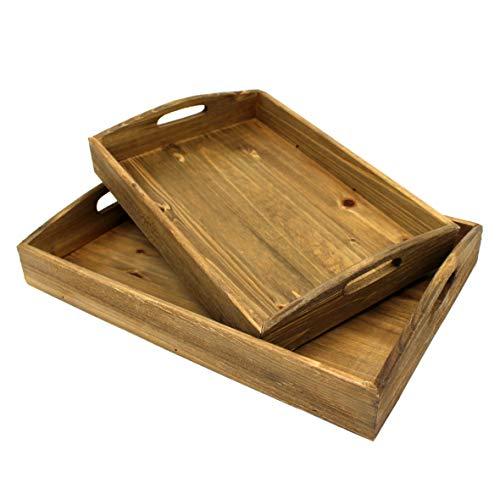 CVHOMEDECO, vassoio in legno per colazioni di campagna, in legno, per sala da pranzo, cucina, cibo,...
