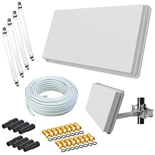 netshop 25 Set: SELFSAT H30D4+ Flachantenne Single + 50m Kabel + Fensterhalterung + 4 Fensterdurchführung + 16 F-Stecker + 8 Wetterschutztüllen (Full HD 4K UHD Sat Anlage für 4 Teilnehmer)