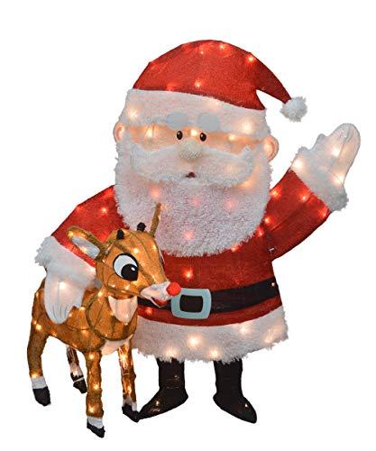 TisYourSeason Lighted Rudolph & Santa 36' 3-D Tinsel Outdoor Christmas Decoration Yard Art