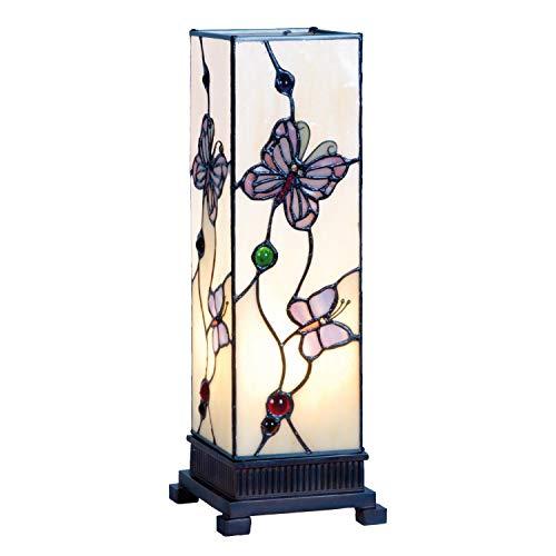 Lumilamp 5LL-9301 Tischleuchte Tischlampe Tiffany Stil 12.5 * 35 cm 1x E14 / Max25 Watt dekoratives buntglas handgefertigt glasschirm