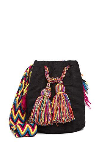 Bolso Wayuu Artesanal, Negro, Original De Colombia