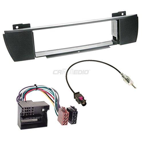 BMW X3E8304–10de 1DIN para Radio de Coche Set en Original Plug & Play Calidad con Antena Adaptador, Radio Cable de conexión, Accesorios y Radio/Marco de Montaje Negro