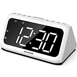 ANJANK Digital Alarm Clock FM Radio - Large LED Number Display, Dual Alarms with 8 Sounds, Adjustable Dimmer/Volume, USB Charger, Sleep Timer, Compact Triangle Clock Best for Bedside Bedroom, White