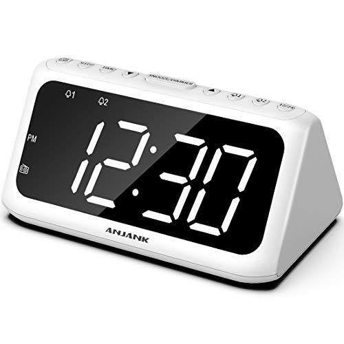 ANJANK Digital Alarm Clock FM Radio - Large LED Number Display, Dual Alarms with 8 Sounds, Adjustable Dimmer/Volume, USB Charger, Sleep Timer, Compact Triangle Clock Best for Bedside Bedroom, White