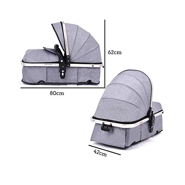 RUXGU High landscape Pushchairs 2-in-1 Baby stroller Travel Systems Folding Lightweight Newborn Safety System With Rain Cover and Mom Bag(Gray) RUXINGGU High landscape stroller, baby travel system High-performance shock absorption guarantees comfort for infants Spacious basket, high view, suitable for outdoor use 3