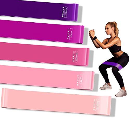 Elastiche Fitness, [Set di 5] Bande di Resistenza Fitness, Bande Elastiche di Resistenza, 5 Livelli di Resistenza, Yoga, Pilates, Riabilitazione, Allenamento, Guida di Esercizi, Borsa Trasporto