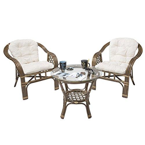 Flash 32% Rattan-Sitzgarnitur BALK Terrace - Rattan-Möbel-Set dreiteilig - Braun