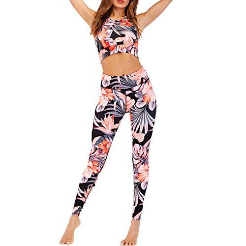 CiKiXZ Tuta da Donna Set Floreale Stampa Sportiva Crop Top e Pantaloni Elastici Stretti per Palestra Pilates Yoga Fitness Allenamento Tuta Completa per Donna (Arancione, M)