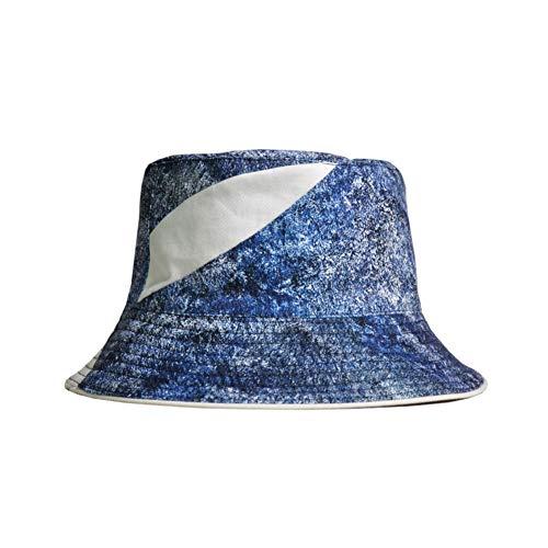 HWY Protection Solaire Visière Bucket Hat Cotton pour la Plage, Le Camping, la randonnée, en Plein air (Bleu)