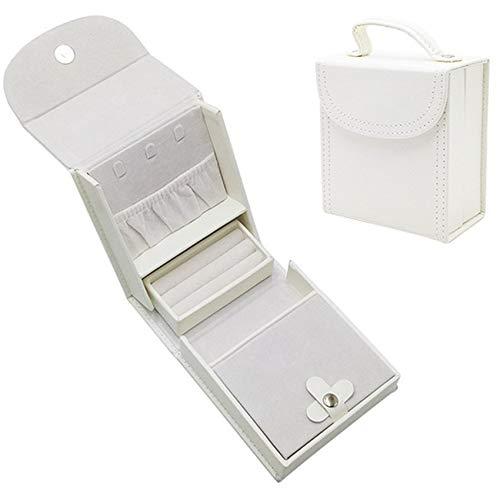 Caja De Joyería De 12 * 11 * 6 Cm, Caja De Joyería, Joyería Portátil De Cuero PU, El Regalo Ideal para Niñas,Blanco