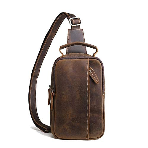 Y-hm Moda Bolso de Hombro Retro de Cuero de Caballo de Cuero Nuevo para Hombre Diseño Ligero (Color : Coffee Color, Size : 17 * 9 * 26cm)