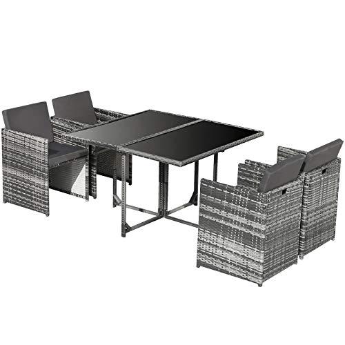 Foxorex - Set di mobili da giardino, 5 pezzi, in rattan, set di mobili da pranzo in vimini, 4 sedie con spazio e tavolino da caffè, colore: grigio