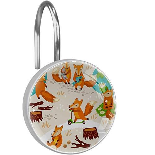 Kleine süße Füchse Duschvorhang Haken 12er Set Duschvorhang Ring aus Edelstahl Dekorative Kleiderbügelringe für Badezimmer Wohnzimmer Schlafzimmer Wohnkultur