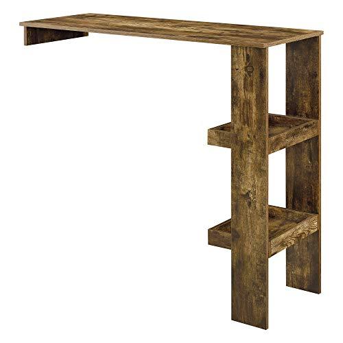 [en.casa] Bartisch Sölvesborg 120x45x106cm Stehtisch für Wandmontage Bartheke mit Ablagen Holz Dunkel